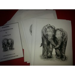 Pack of 6 Elephant Notelets