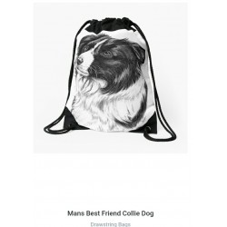 Drawstring bag. Border collie