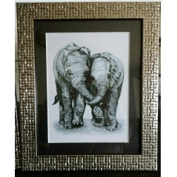 Framed playful elephant print
