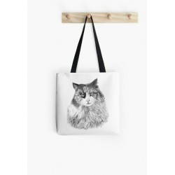 Small tote bag, with drawing of lioness