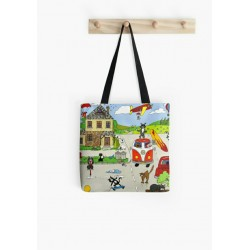 Medium tote bag, with drawing mother and baby giraffe