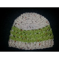 Baby Hat Natural and Greens -6-12 months