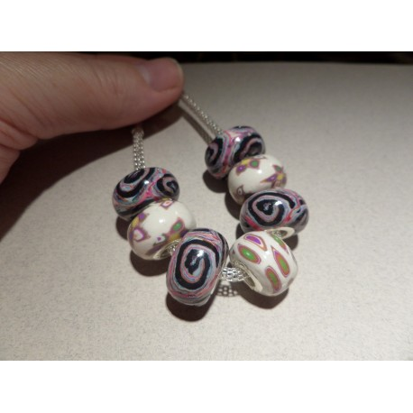 European Polymer clay beads x 7 set 2
