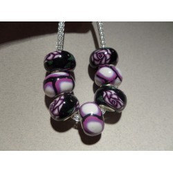 European Polymer clay beads x 7 set 8